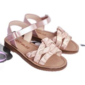 FRROCK Dziecięce Sandałki Na Rzepy Dla Dziewczynki Różowe Lilo 1
