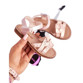 FRROCK Dziecięce Sandałki Na Rzepy Dla Dziewczynki Różowe Lilo 2