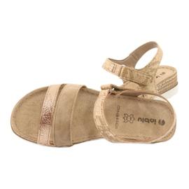 Sandały z wkładką skórzaną Inblu Platino OF019 beżowy złoty 4