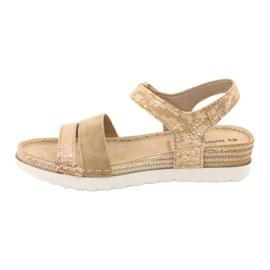 Sandały z wkładką skórzaną Inblu Platino OF019 beżowy złoty 1