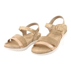 Sandały z wkładką skórzaną Inblu Platino OF019 beżowy złoty 2