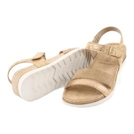 Sandały z wkładką skórzaną Inblu Platino OF019 beżowy złoty 3