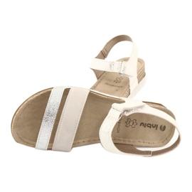 Sandały z wkładką skórzaną Inblu Argento OF019 białe szare 4