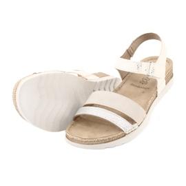 Sandały z wkładką skórzaną Inblu Argento OF019 białe szare 3