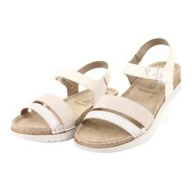Sandały z wkładką skórzaną Inblu Argento OF019 białe szare 2