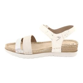 Sandały z wkładką skórzaną Inblu Argento OF019 białe szare 1