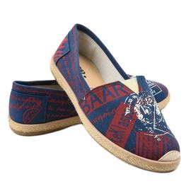 Niebieskie obuwie espadryle męskie BKA-48 czerwone 4