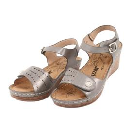 Sandały damskie koturn Evento 9SD98-0980 grey szare 2