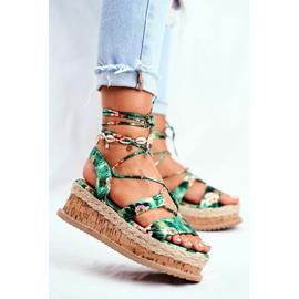 FB2 Damskie Sandały Na Korkowej Platformie Wiązane Zielone My Way wielokolorowe 1