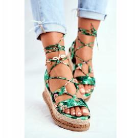 FB2 Damskie Sandały Na Korkowej Platformie Wiązane Zielone My Way wielokolorowe 2