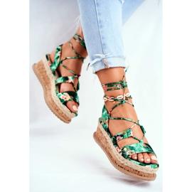 FB2 Damskie Sandały Na Korkowej Platformie Wiązane Zielone My Way wielokolorowe 3