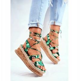 FB2 Damskie Sandały Na Korkowej Platformie Wiązane Zielone My Way wielokolorowe 4