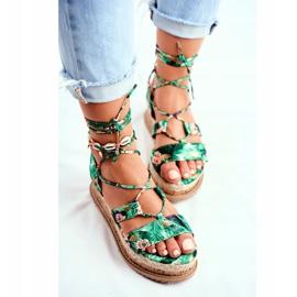 FB2 Damskie Sandały Na Korkowej Platformie Wiązane Zielone My Way wielokolorowe 5