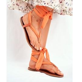 FS1 Sandałki Damskie Japonki Wiązane Pomarańczowe Derryl 1