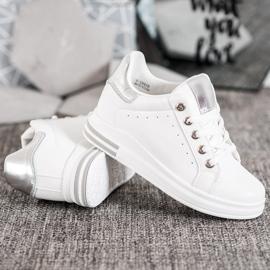 SHELOVET Buty Sportowe Na Koturnie białe 3