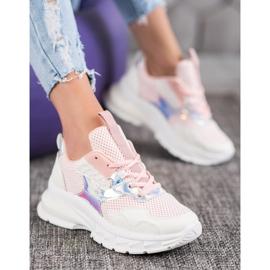 Mannika Modne Sneakersy Z Siateczką różowe 1