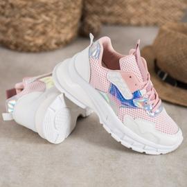 Mannika Modne Sneakersy Z Siateczką różowe 2