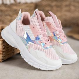 Mannika Modne Sneakersy Z Siateczką różowe 3