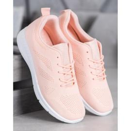 Renda Ażurowe Buty Sportowe różowe 2