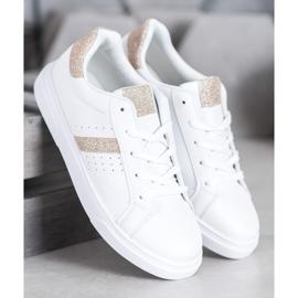 SHELOVET Buty Sportowe Z Brokatem białe 3