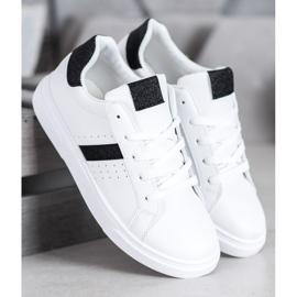 SHELOVET Buty Sportowe Z Brokatem białe 4
