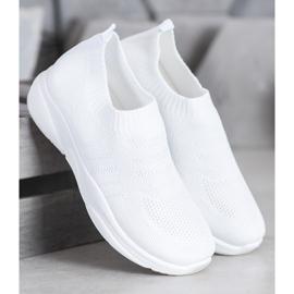 Sweet Shoes Wygodne Slipony Na Platformie białe 3