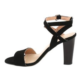 Czarne sandały na słupku Espinto S333/1 1