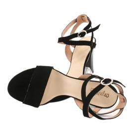 Czarne sandały na słupku Espinto S333/1 4