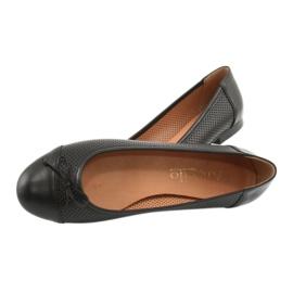 Czarne ażurowe baleriny kokardka Angello 761 4