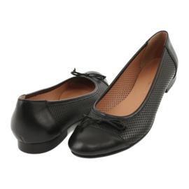 Czarne ażurowe baleriny kokardka Angello 761 3