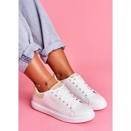 SEA Sportowe Damskie Buty Białe z Beżowym Zapiętkiem Milly 2
