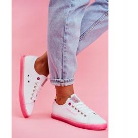 Trampki Damskie Cross Jeans Biało Różowe FF2R4075C 2