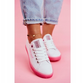 Trampki Damskie Cross Jeans Biało Różowe FF2R4075C 3