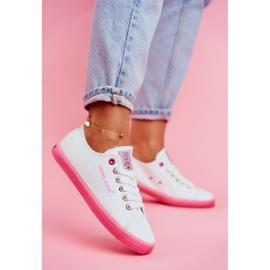 Trampki Damskie Cross Jeans Biało Różowe FF2R4075C 1
