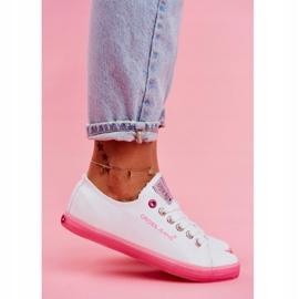Trampki Damskie Cross Jeans Biało Różowe FF2R4075C 4