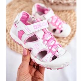 Sandałki Dziecięce Big Star Na Rzepy Białe FF374207 różowe 4