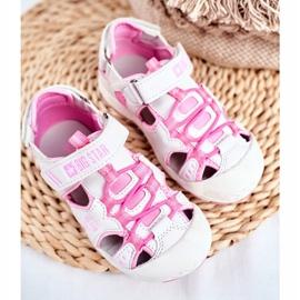 Sandałki Dziecięce Big Star Na Rzepy Białe FF374207 różowe 5