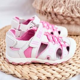 Sandałki Dziecięce Big Star Na Rzepy Białe FF374207 różowe 3