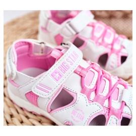 Sandałki Dziecięce Big Star Na Rzepy Białe FF374207 różowe 2
