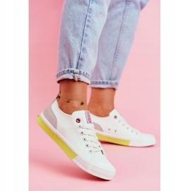 Trampki Damskie Cross Jeans Biało Żółte FF2R4042C białe 1