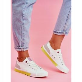 Trampki Damskie Cross Jeans Biało Żółte FF2R4042C białe 2