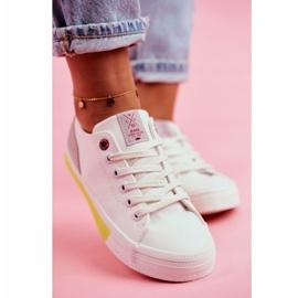 Trampki Damskie Cross Jeans Biało Żółte FF2R4042C białe 5