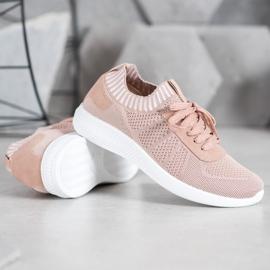 SHELOVET Pudrowe Buty Sportowe różowe 3