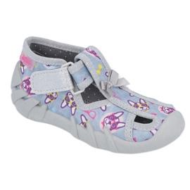 Befado obuwie dziecięce 190P093 szare wielokolorowe 1