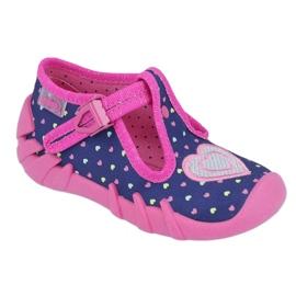 Befado obuwie dziecięce 110P362 granatowe różowe 1
