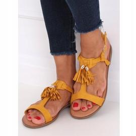 Sandałki damskie miodowe 222-30 Yellow żółte 4