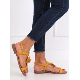 Sandałki damskie miodowe 222-30 Yellow żółte 3