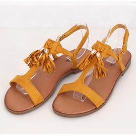Sandałki damskie miodowe 222-30 Yellow żółte 1