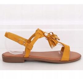 Sandałki damskie miodowe 222-30 Yellow żółte 2