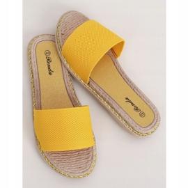Klapki damskie miodowe 35-185 Yellow żółte 3